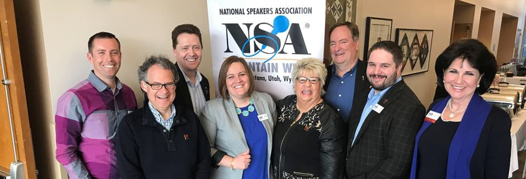President and past Presidents of-NSA-Mountain-West. Ty Bennett, Devin Thorpe, Dr. Paul Jenkins, Michelle McCullough, Ruby Newell Legner, Mitch Seehusen,
